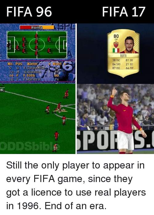 Fifa 17: FIFA 96  Roma  ODDSbiblE  FIFA 17  80  CF  TOTTI  38 PAC  81 OR  84 SHO  21 DEF  87  PAS 66 PHY  SPOAIS. Still the only player to appear in every FIFA game, since they got a licence to use real players in 1996. End of an era.
