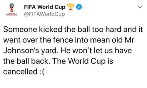 Fifa, World Cup, and Fifa World Cup: FIFA World Cup 1) *  FIFAWorldCup  Someone kicked the ball too hard and it  went over the fence into mean old Mr  Johnson's yard. He won't let us have  the ball back. The World Cup is  cancelled:(