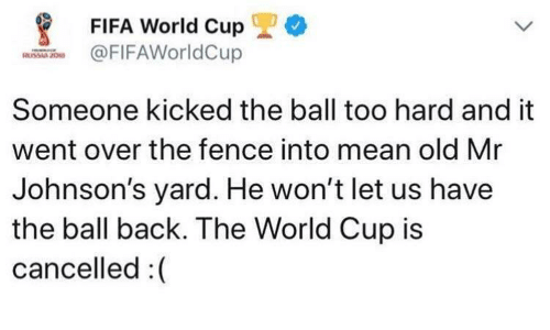 Fifa, World Cup, and Fifa World Cup: *  FIFA World Cup  FIFAWorldCup  Someone kicked the ball too hard and it  went over the fence into mean old Mr  Johnson's yard. He won't let us have  the ball back. The World Cup is  cancelled :(