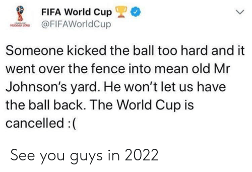 Fifa, World Cup, and Fifa World Cup: *  FIFA World Cup  FIFAWorldCup  Someone kicked the ball too hard and it  went over the fence into mean old Mr  Johnson's yard. He won't let us have  the ball back. The World Cup is  cancelled :( See you guys in 2022