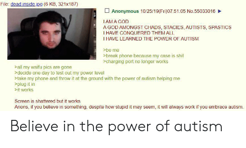 Autists: File: dead inside.jpg (6 KB, 321x187)  Anonymous 10/25/19(Fri)07:51:05 No.55033016  IAMA GOD  A GOD AMONGST CHADS, STACIES, AUTISTS, SPASTICS  I HAVE CONQUERED THEM ALL  I HAVE LEARNED THE POWER OF AUTISM  >be me  >break phone because my case is shit  >charging port no longer works  >all my waifu pics are gone  >decide one day to test out my power level  >take my phone and throw it at the ground with the power of autism helping me  >plug it in  >it works  Screen is shattered but it works  Anons, if you believe in something, despite how stupid it may seem, it will always work if you embrace autism. Believe in the power of autism