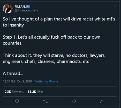 Insanity: FILSAN.  @Filsancomplains  So l've thought of a plan that will drive racist white mf's  to insanity  our  Step 1. Let's all actually fuck off back to our own  countries.  Think about it, they will starve, no doctors, lawyers,  engineers, chefs, cleaners, pharmacists, etc  A thread...  12:03 PM · Oct 8, 2019 - Twitter for iPhone  10.3K Retweets  35.2K Likes