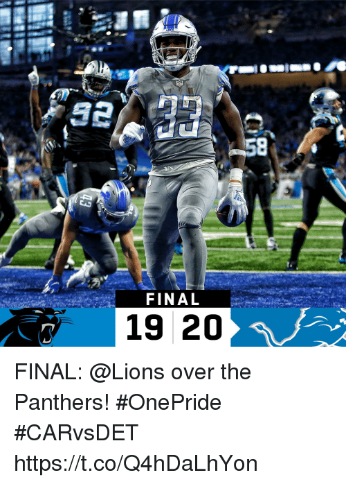 Memes, Lions, and Panthers: FINAL  19 20 FINAL: @Lions over the Panthers! #OnePride  #CARvsDET https://t.co/Q4hDaLhYon