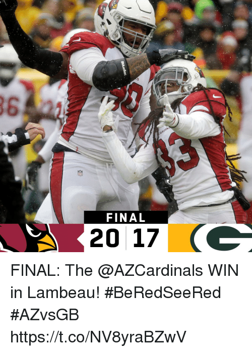 Memes, 🤖, and Win: FINAL  20 17 FINAL: The @AZCardinals WIN in Lambeau! #BeRedSeeRed  #AZvsGB https://t.co/NV8yraBZwV