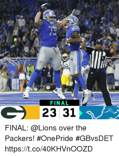 Memes, Lions, and Packers: FINAL  23 31 FINAL: @Lions over the Packers! #OnePride  #GBvsDET https://t.co/40KHVnOOZD
