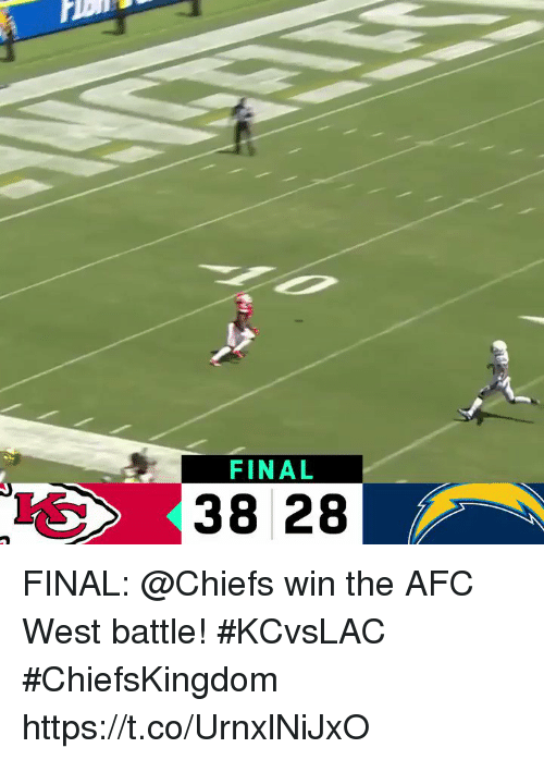 Memes, Chiefs, and 🤖: FINAL  38 28 FINAL: @Chiefs win the AFC West battle! #KCvsLAC  #ChiefsKingdom https://t.co/UrnxlNiJxO