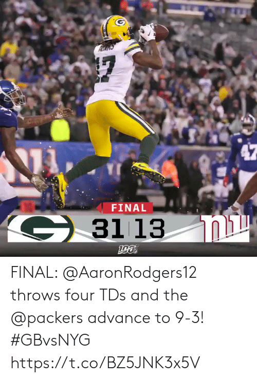 Throws: FINAL  G3113  ומג  190 FINAL: @AaronRodgers12 throws four TDs and the @packers advance to 9-3! #GBvsNYG https://t.co/BZ5JNK3x5V