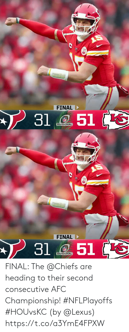 lexus: FINAL: The @Chiefs are heading to their second consecutive AFC Championship! #NFLPlayoffs #HOUvsKC  (by @Lexus) https://t.co/a3YmE4FPXW
