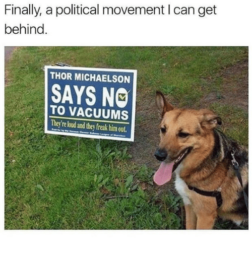 vacuums: Finally, a political movement I can get  behind.  THOR MICHAELSON  SAYS NO  TO VACUUMS  They're loud and they freak him out