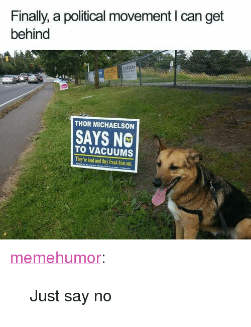 """vacuums: Finally, a political movement I can get  behind  THOR MICHAELSON  SAYS NO  TO VACUUMS  They're loud and they freak him out <p><a href=""""http://memehumor.net/post/172764232591/just-say-no"""" class=""""tumblr_blog"""" target=""""_blank"""">memehumor</a>:</p><blockquote><p>Just say no</p></blockquote>"""