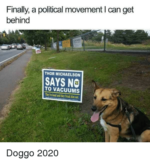 vacuums: Finally, a political movement I can get  behind  THOR MICHAELSON  SAYS NO  TO VACUUMS  They're loud and they freak him out Doggo 2020