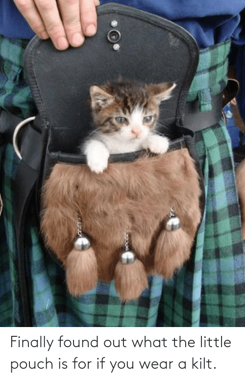 Finally Found: Finally found out what the little pouch is for if you wear a kilt.