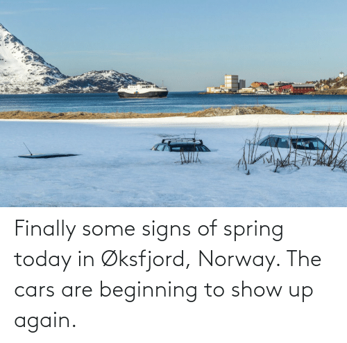 Norway: Finally some signs of spring today in Øksfjord, Norway. The cars are beginning to show up again.