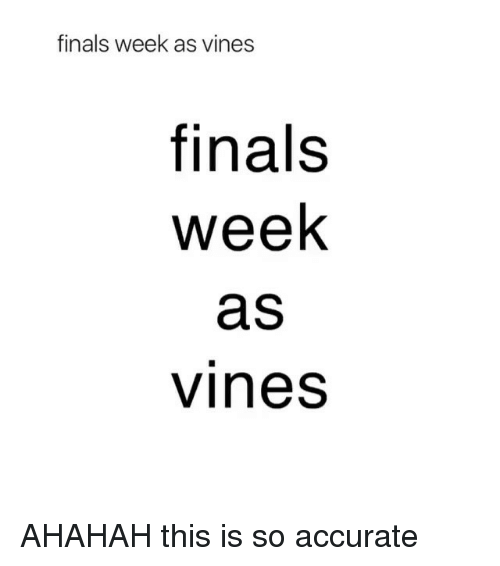 Finals, Vines, and Girl Memes: finals week as vines  finals  week  aS  vines AHAHAH this is so accurate