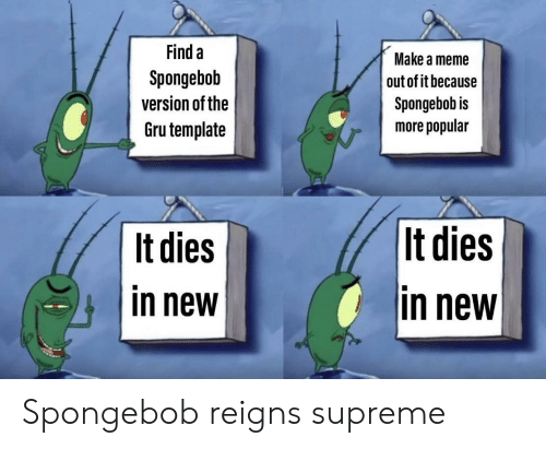 Gru: Find a  Make a meme  Spongebob  out of it because  version of the  Spongebob is  Gru template  more popular  |It dies  It dies  in new  in new Spongebob reigns supreme
