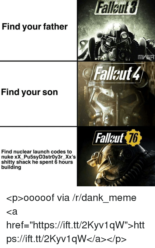 "Dank, Meme, and Via: Find vour father  Fallout4  Find your son  Fallgut  76  Find nuclear launch codes to  nuke xX_Pu5syD3strOy3r_Xx's  shitty shack he spent 6 hours  building <p>ooooof via /r/dank_meme <a href=""https://ift.tt/2Kyv1qW"">https://ift.tt/2Kyv1qW</a></p>"