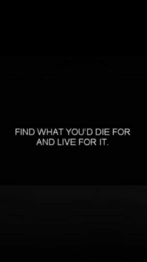 Live, What, and For: FIND WHAT YOU'D DIE FOR  AND LIVE FOR IT