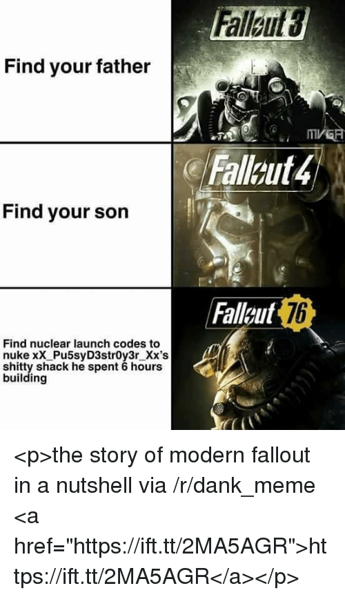 "Dank, Meme, and Fallout: Find your father  Falleut4  Find your son  Faleut  7b  Find nuclear launch codes to  nuke xX Pu5syD3str0y3r_Xx's  shitty shack he spent 6 hours  building <p>the story of modern fallout in a nutshell via /r/dank_meme <a href=""https://ift.tt/2MA5AGR"">https://ift.tt/2MA5AGR</a></p>"