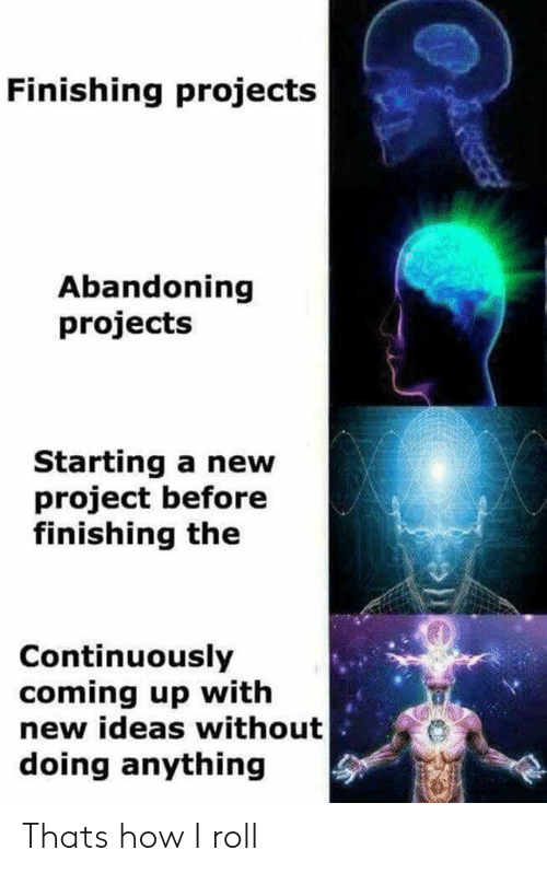 How, Project, and Ideas: Finishing projects  Abandoning  projects  Starting a new  project before  finishing the  Continuously  coming up with  new ideas without  doing anything  P Thats how I roll