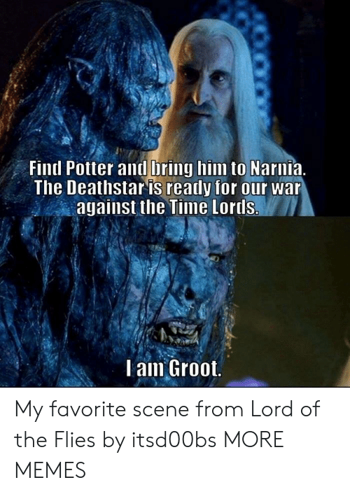 Dank, Memes, and Target: Fintl Potter and bring him to Narnia.  The Deathstar is ready for our war  against the Time Lortls.  l am Groot My favorite scene from Lord of the Flies by itsd00bs MORE MEMES