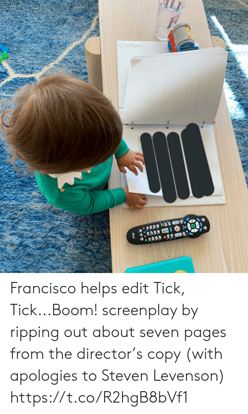 pages: fios Francisco helps edit Tick, Tick...Boom! screenplay by ripping out about seven pages from the director's copy (with apologies to Steven Levenson) https://t.co/R2hgB8bVf1