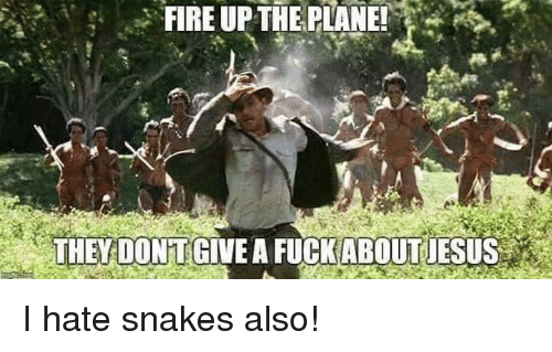 Fire, Lol, and Snakes: FIRE UPTHE PLANE!  THEY DONTGIVE A FUCKABOUTUESUS I hate snakes also!