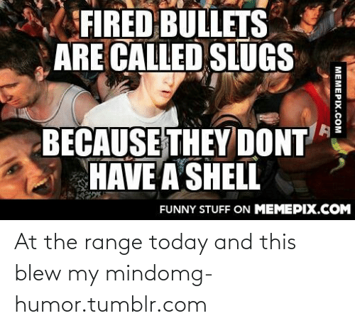 This Blew My Mind: FIRED BULLETS  ARE CALLED SLUGS  BECAUSE THEY DONT  HAVE A SHELL  FUNNY STUFF ON MEMEPIX.COM  MEMEPIX.COM At the range today and this blew my mindomg-humor.tumblr.com