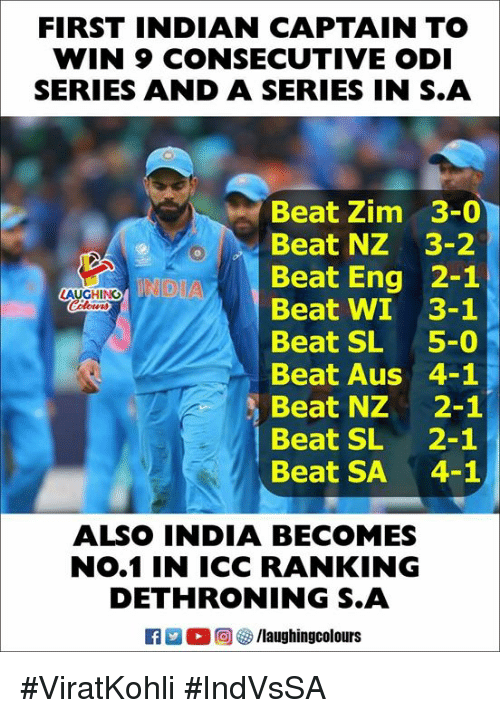 icc: FIRST INDIAN CAPTAIN TO  WIN 9 CONSECUTIVE ODI  SERIES AND A SERIES IN S.A  Beat Zim 3-0  Beat NZ 3-2  Beat Eng 2-1  Beat WI 3-1  Beat SL 5-0  Beat Aus 4-1  Beat NZ 2-1  Beat SL 2-1  Beat SA 4-  LAUGHING  ALSO INDIA BECOMES  NO.1 IN ICC RANKING  DETHRONING S.A  回锣/laughingcolours #ViratKohli #IndVsSA