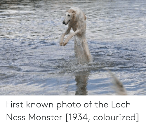 loch ness: First known photo of the Loch Ness Monster [1934, colourized]