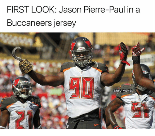 Jason Pierre-Paul, Memes, and Nfl: FIRST LOOK: Jason Pierre-Paul in a  Buccaneers jersey  NFL MEMES  MC  21