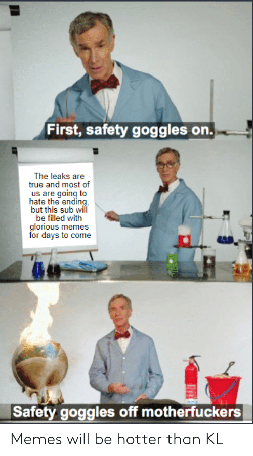 Memes, True, and Glorious: First, safety goggles on.  The leaks are  true and most of  us are going to  hate the ending  but this sub will  be filled with  glorious memes  for days to come  Safety goggles off motherfuckers Memes will be hotter than KL