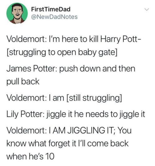 Baby, Back, and Gate: FirstTimeDad  ONewDadNotes  Voldemort: I'm here to kill Harry Pott-  [struggling to open baby gate]  James Potter: push down and then  pull back  Voldemort: I am [still strugglingl  Lily Potter: jiggle it he needs to jiggle it  Voldemort: I AM JIGGLING IT; You  know what forget it l'll come back  when he's 10