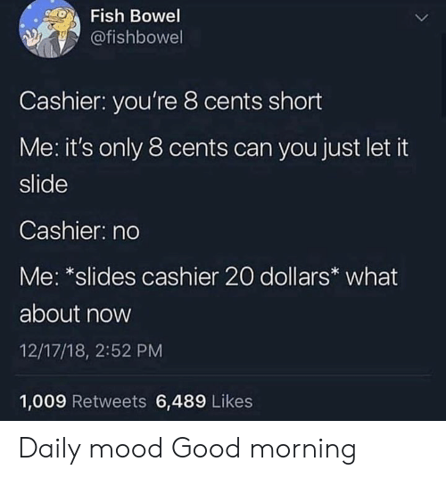 Mood, Good Morning, and Fish: Fish Bowel  @fishbowel  Cashier: you're 8 cents short  Me: it's only 8 cents can you just let it  slide  Cashier: no  Me: *slides cashier 20 dollars* what  about now  12/17/18, 2:52 PM  1,009 Retweets 6,489 Likes Daily mood   Good morning