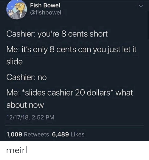 Fish, MeIRL, and Can: Fish Bowel  @fishbowel  Cashier: you're 8 cents short  Me: it's only 8 cents can you just let it  slide  Cashier: no  Me: *slides cashier 20 dollars what  about now  12/17/18, 2:52 PM  1,009 Retweets 6,489 Likes meirl