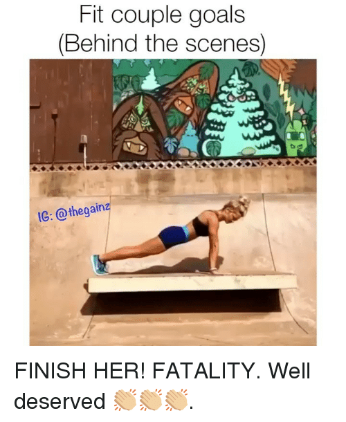 well deserved: Fit couple goals  (Behind the scenes)  1e: @thegainz FINISH HER! FATALITY. Well deserved 👏🏼👏🏼👏🏼.