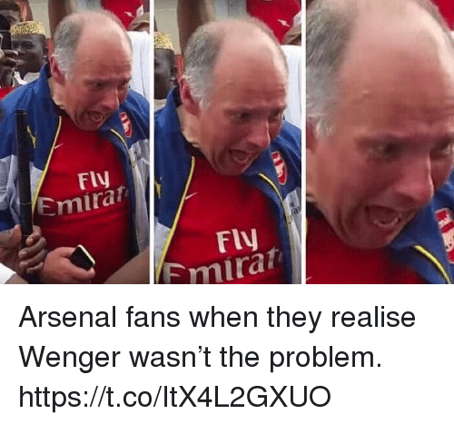 Arsenal, Soccer, and They: FIV  Emirat  FlV  mirat Arsenal fans when they realise Wenger wasn't the problem. https://t.co/ItX4L2GXUO