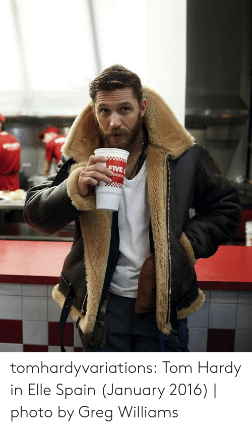 Tom Hardy, Tumblr, and Blog: FIVE  URGERS tomhardyvariations: Tom Hardy in Elle Spain (January 2016) | photo by Greg Williams