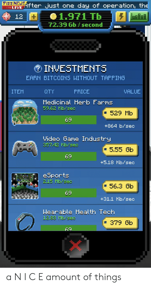 """Funny, Game, and Live: FIZZNEWSfter just one day of operation, the  FFF LIVE  1971 Tb  12  puoas q9 6€""""ZZ  INVESTMENTS  EARN BITCOINS WITHOUT TAFFING  OTY  ITEM  FRICE  VALUE  Medicinal Herb Farms  59.62 Kb/sec  529 Mb  69  +864 b/sec  Video Game Industry  35742 Kb/sec  5.55 Gb  69  +5.18 Kb/ec  eSports  2.15 Mb/sec  56.3 Gb  69  +31.1 Kb/sec  Wearable Health Tech  12.83 Mb/sec  379 Gb  69 a N I C E amount of things"""