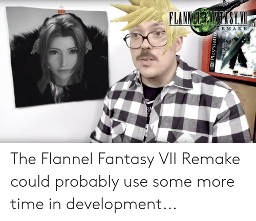 Some More, Time, and Fantasy: FLANNBPYSYVI  RE M A KE  TEEN  SRD  SOUARESOFT  30scs  RM  PlayStatio The Flannel Fantasy VII Remake could probably use some more time in development...