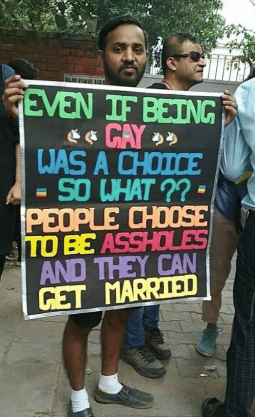 so what: FLIMR AGR  GEVEN IF BEING  WAS A CHOICE  SO WHAT ?? -  PEOPLE CHOOSE  TO BE ASSHOLES  AND THEY CAN  GET MARRIED