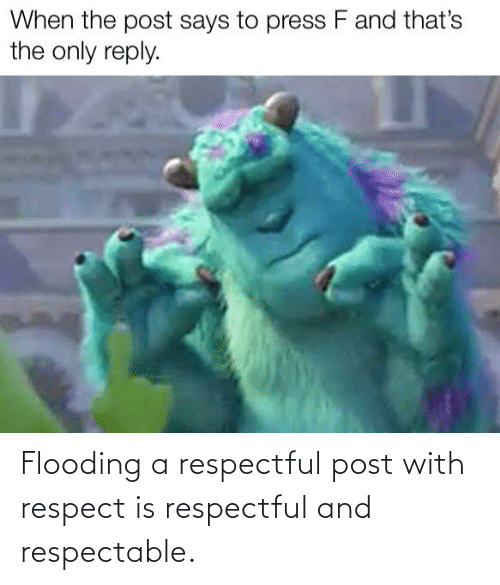 respectful: Flooding a respectful post with respect is respectful and respectable.
