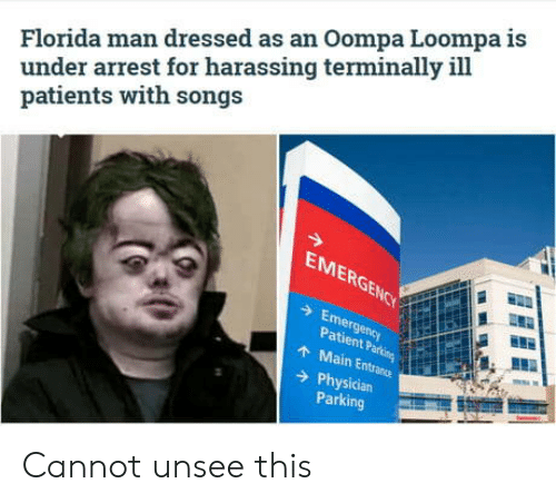 harassing: Florida man dressed as an Oompa Loompa is  under arrest for harassing terminally ill  patients with songs  EMERGENCY  Emergency  Patient Parking  AMain Entrance  Physician  Parking Cannot unsee this