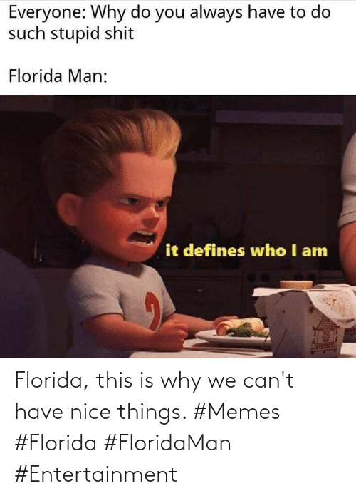 Florida: Florida, this is why we can't have nice things. #Memes #Florida #FloridaMan #Entertainment