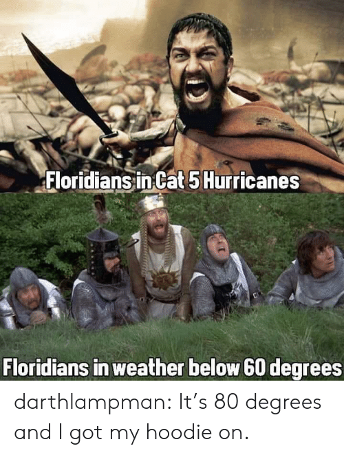 Got My: Floridians in Cat 5 Hurricanes  Floridians in weather below 60 degrees darthlampman:  It's 80 degrees and I got my hoodie on.