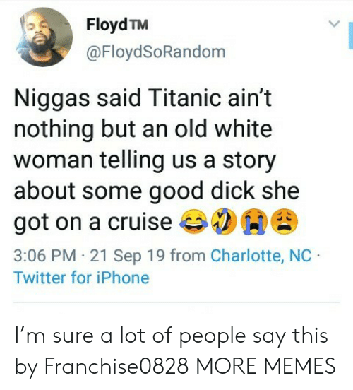 Charlotte: Floyd TM  @FloydSoRandom  Niggas said Titanic ain't  nothing but an old white  woman telling us a story  about some good dick she  got on a cruise  3:06 PM 21 Sep 19 from Charlotte, NC  Twitter for iPhone I'm sure a lot of people say this by Franchise0828 MORE MEMES