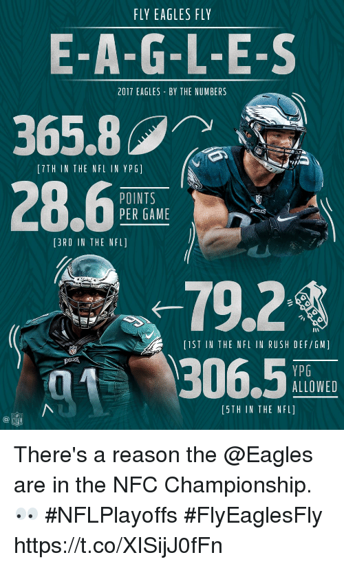 Nfc Championship: FLY EAGLES FLY  E-A-G-L-E-S  365.8  28.6  2017 EAGLES BY THE NUMBERS  [TTH IN THE NFL IN YPG]  POINTS  PER GAME  [3RD IN THE NFL]  -79.24  306.5  IST IN THE NFL IN RUSH DEF/GM]  zu째  YPG  ALLOWED  [5TH IN THE NFL]  NFL There's a reason the @Eagles are in the NFC Championship. 👀 #NFLPlayoffs #FlyEaglesFly https://t.co/XISijJ0fFn