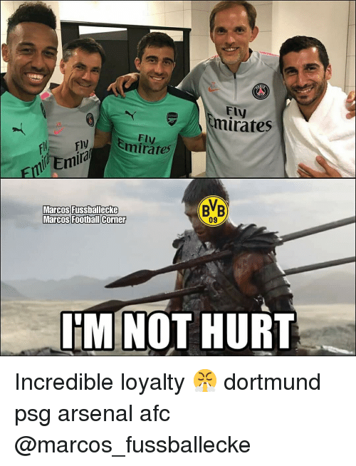 """Arsenal, Memes, and Emirates: Fly  Emirates  """"Y  Fly  ly  ira  BB  Marcos fussballecke  Marcos Foothall Corner  09  UMİNOT HURT Incredible loyalty 😤 dortmund psg arsenal afc @marcos_fussballecke"""