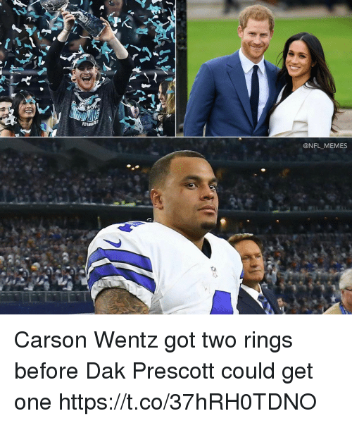 Memes, Nfl, and 🤖: FLY  @NFL MEMES Carson Wentz got two rings before Dak Prescott could get one https://t.co/37hRH0TDNO