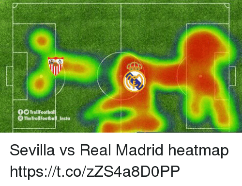 Memes, Real Madrid, and 🤖: fO TrollFootball  TheTrollFootball Insta Sevilla vs Real Madrid heatmap https://t.co/zZS4a8D0PP