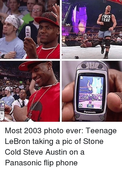 cold-steve-austin: FOCM  RAR Most 2003 photo ever: Teenage LeBron taking a pic of Stone Cold Steve Austin on a Panasonic flip phone